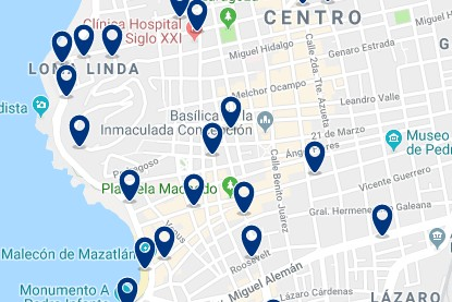 Accommodation in Mazatlan's Promenade – Click on the map to see all available accommodation in this area