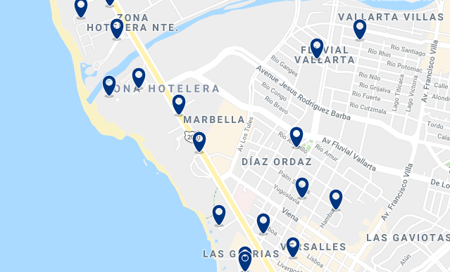 Accommodation in Zona Hotelera – Click on the map to see all available accommodation in this area