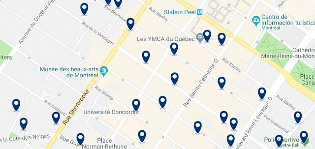 Accommodation in Downtown Montreal - Click on the map to see all accommodation in this area