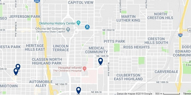 Accommodation near the Oklahoma State Capitol - Click on the map to see all available accommodation in this area