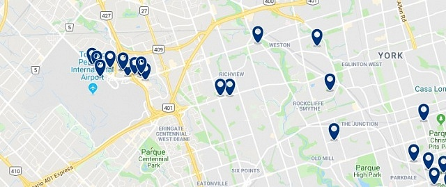 Accommodation near Toronto International Airport - Click on the map to see all available accommodation in this area