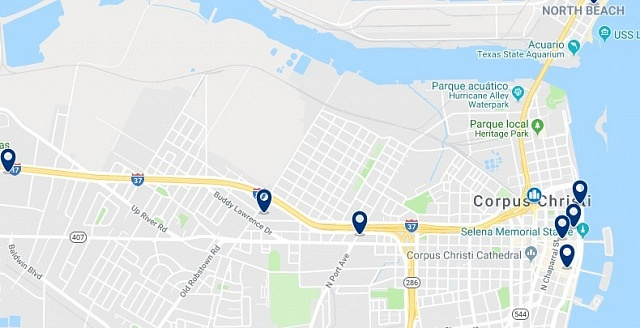 Accommodation in Downtown Corpus Christi - Click on the map to see all available accommodation in this area