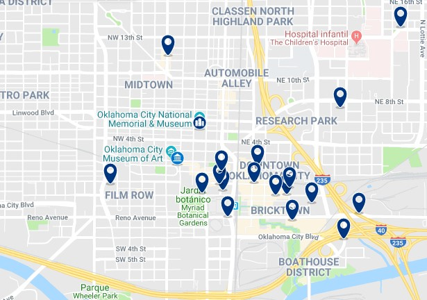 Accommodation in Downtown Oklahoma City - Click on the map to see all available accommodation in this area