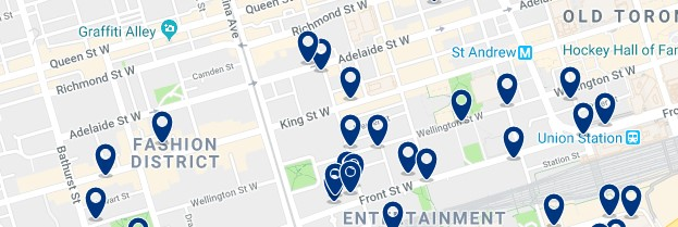 Accommodation in Fashion District - Click on the map to see all available accommodation in this area