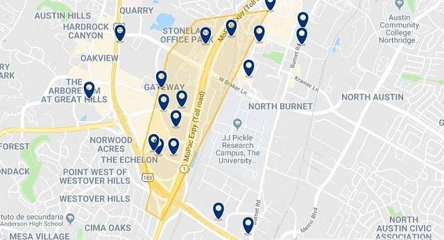 Accommodation in Northwest Austin - Click on the map to see all accommodation in this area