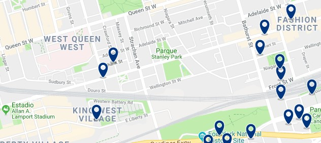 Accommodation in West Queen West - Click on the map to see all available accommodation in this area