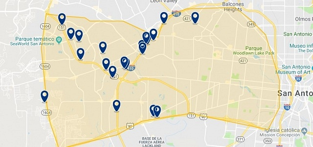 Accommodation in West San Antonio - Click on the map to see all accommodation in this area