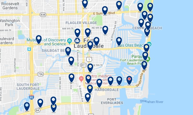 Accommodation in Downtown Fort Laudedale - Click on the map to see all available accommodation in this area