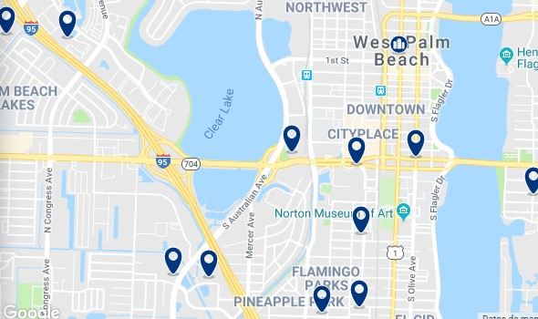 Accommodation in West Palm Beach - Click on the map to see all accommodation in this area
