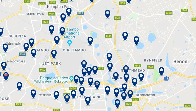 Accommodation near O.R. Tambo International Airport- Click on the map to see all available accommodation in this area