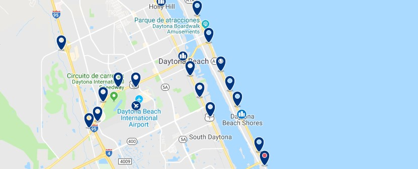 Accommodation in Daytona Beach Shores - Click on the map to see all available accommodation in this area