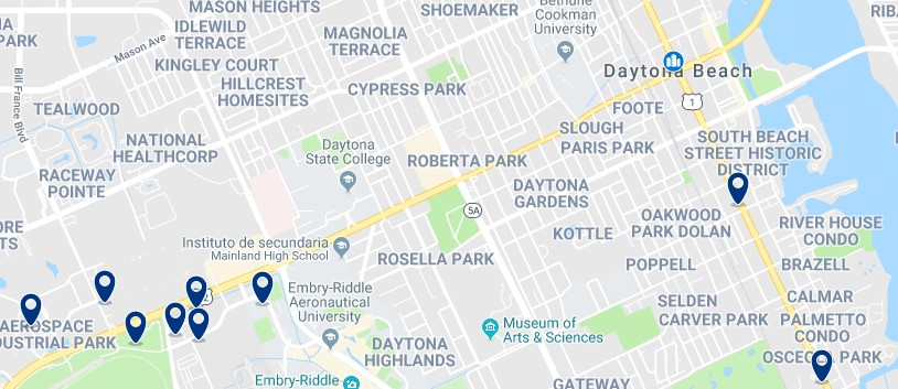 Accommodation in Downtown Daytona Beach - Click on the map to see all available accommodation in this area