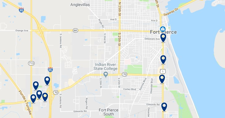 Accommodation in Fort Pierce - Click on the map to see all available accommodation in this area