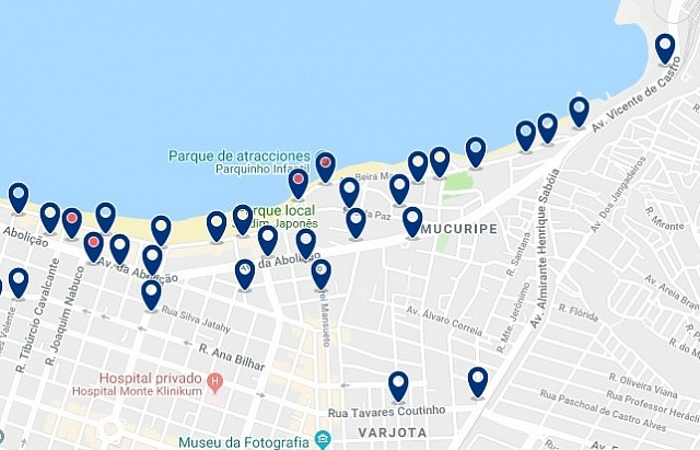 Accommodation in Mucuripe - Click on the map to see all available accommodation in this area