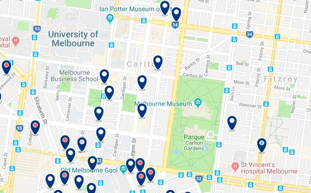 Accommodation in Carlton - Click on the map to see all available accommodation in this area