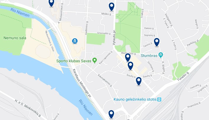 Accommodation near Kaunas' railway station - Click to see all available accommodation on a map