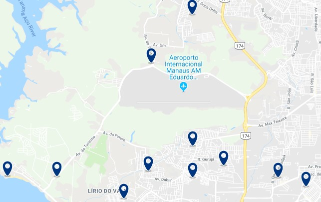 Accommodation near Manaus International Airport  - Click on the map to see all available accommodation in this area