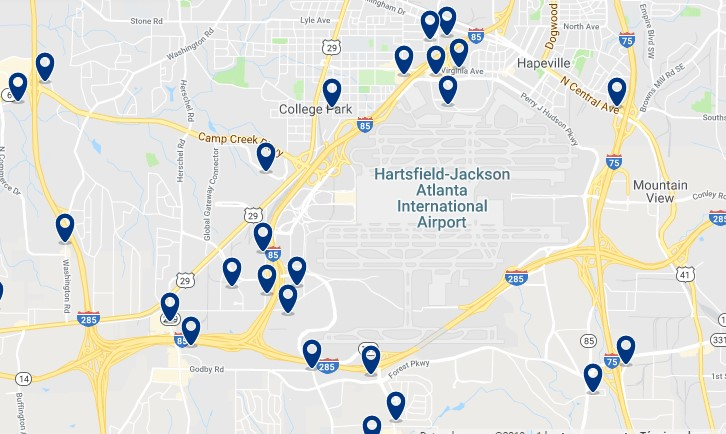 Accommodation near Hartsfield-Jackson International Airport - Click on the map to see all accommodation in this area