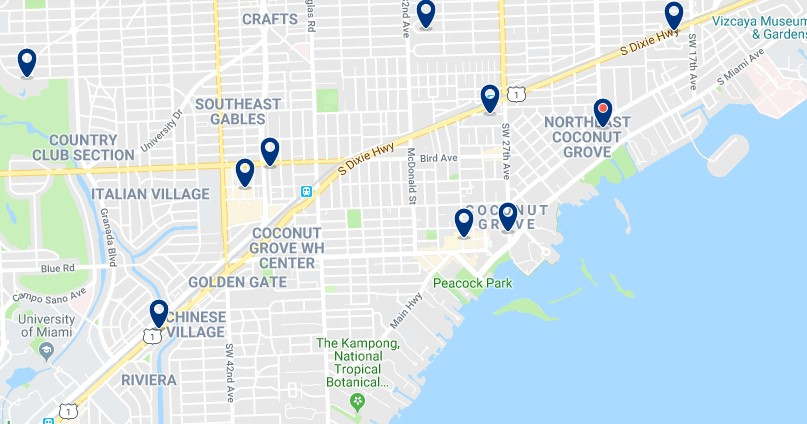 Accommodation in Coconut Grove - Click on the map to see all available accommodation in this area