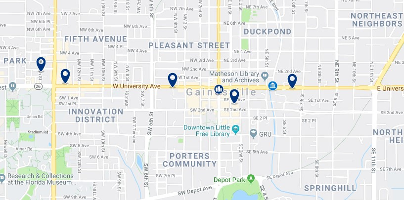Accommodation in Downtown Gainesville - Click on the map to see all available accommodation in this area