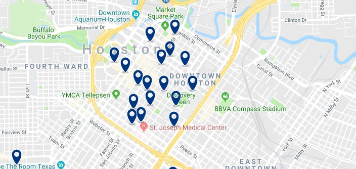 Accommodation in Downtown Houston - Click on the map to see all available accommodation in this area