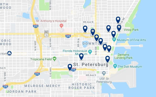 Accommodation in Downtown St Petersburg - Click on the map to see all available accommodation in this area