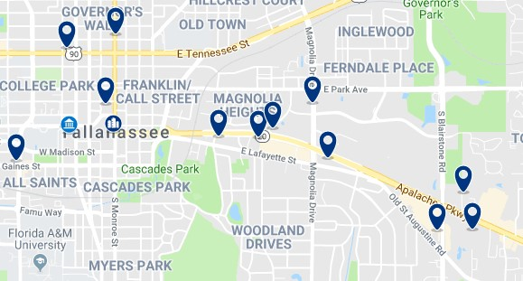 Accommodation in Downtown Tallahassee - Click on the map to see all available accommodation in this area