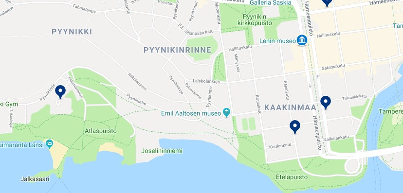 Accommodation in Kaakinmaa, Pyynikinrinne y Nalkala - Click on the map to see all available accommodation in this area