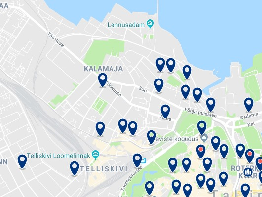 Accommodation in Kalamaja - Click on the map to see all available accommodation in this area