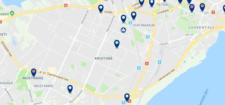 Accommodation in Kristiine - Click on the map to see all available accommodation in this area