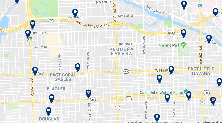 Accommodation in Little Havana - Click on the map to see all available accommodation in this area