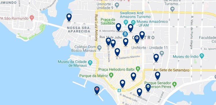 Accommodation in Manaus - City Center - Click on the map to see all available accommodation in this area
