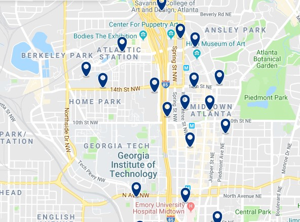 Accommodation in Midtown Atlanta - Click on the map to see all accommodation in this area