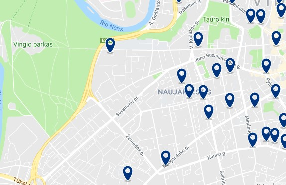 Accommodation in Naujamiestis - Click on the map to see all available accommodation in this area