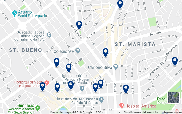 Accommodation in Setor Bueno – Click on the map to see all available accommodation in this area