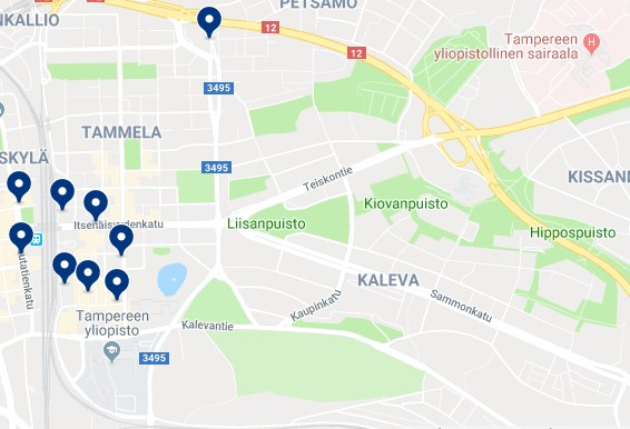 Accommodation in Tammela & Liisankallio - Click on the map to see all available accommodation in this area