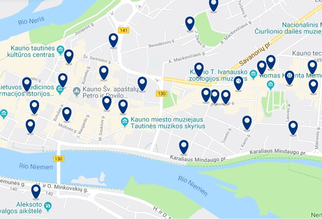 Accommodation in Kaunas' Old Town - Click to see all available accommodation on a map