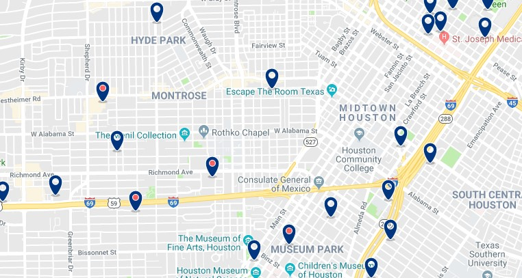 Accommodation in Houston's Midtown - Click on the map to see all available accommodation in this area