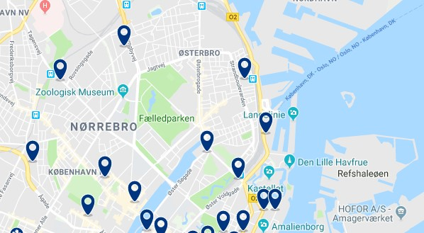 Accommodation in Østerbro - Click on the map to see all available accommodation in this area