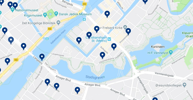 Accommodation in Christianshavn - Click on the map to see all available accommodation in this area