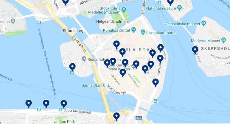 Accommodation in Gamla Stan - Click on the map to see all available accommodation in this area