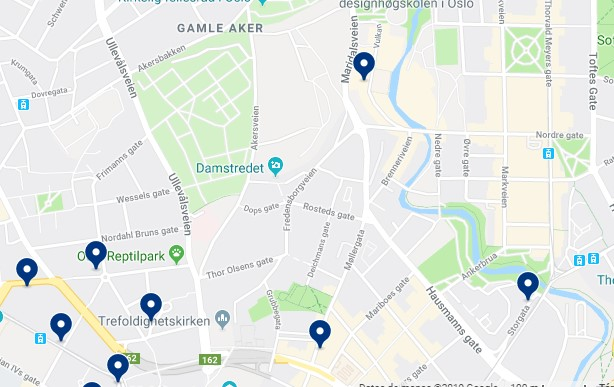 Accommodation in Grünerløkka - Click on the map to see all available accommodation in this area