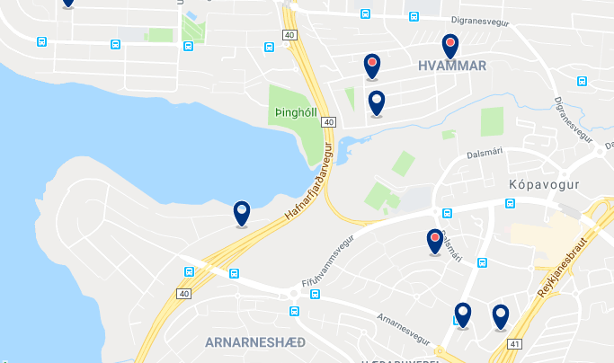 Accommodation in Kópavogur – Click on the map to see all available accommodation in this area