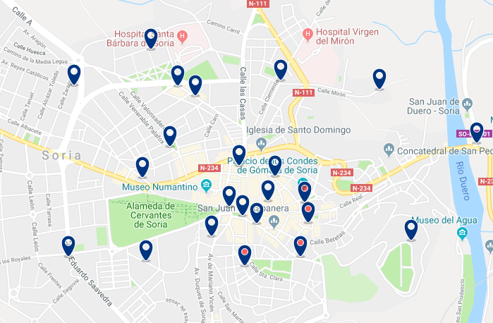 Accommodation in Soria City Centre – Click on the map to see all accommodation in this area