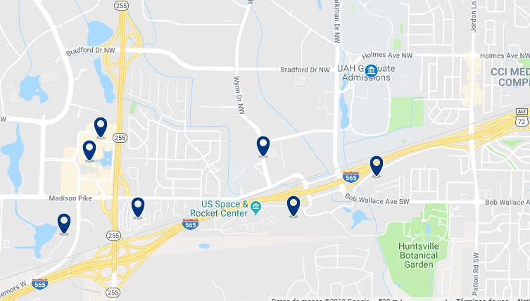 Accommodation near the University of Alabama and the U.S. Space & Rocket Center - Click on the map to see all available accommodation in this area