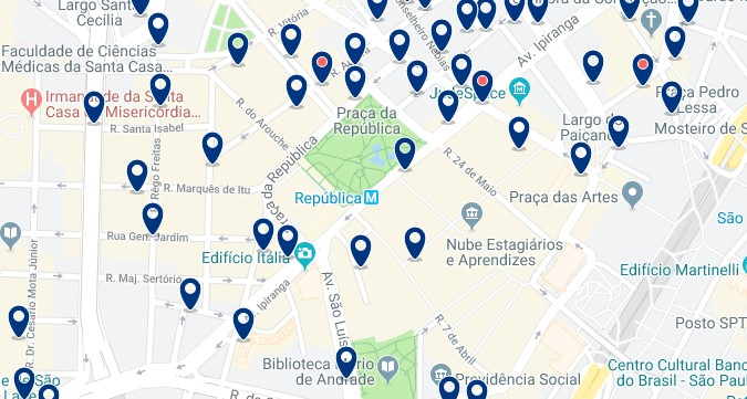 Accommodation in São Paulo City Center - Click on the map to see all available accommodation in this area