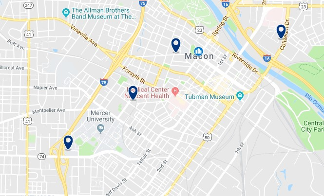 Alojamiento en Downtown Macon - Click on the map to see all accommodation in this area