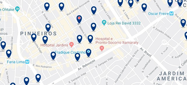 Accommodation in Pinheiros - Click on the map to see all available accommodation in this area