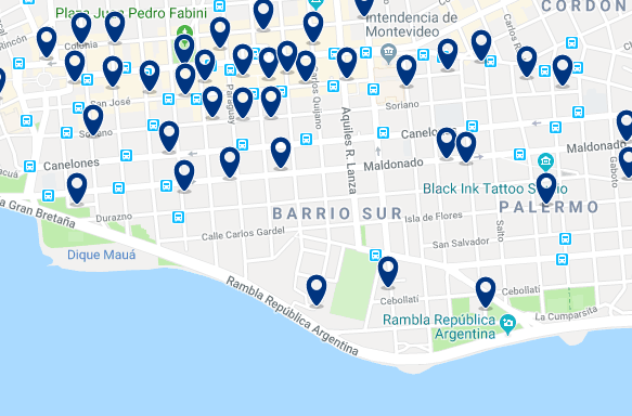 Accommodation in Barrio Sur – Click on the map to see all available accommodation in this area