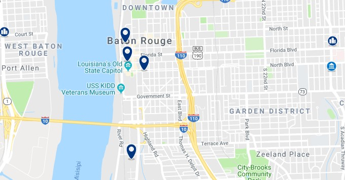 Accommodation in Downtown Baton Rouge - Click on the map to see all available accommodation in this area